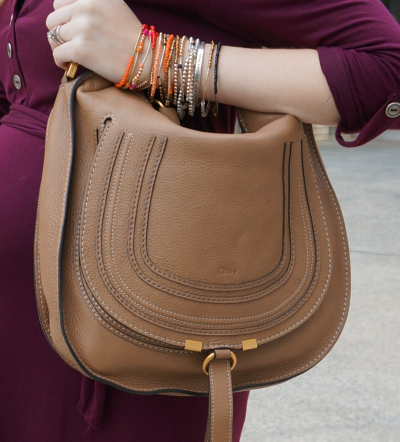Chloe Marcie medium hobo bag in nut brown worn on shoulder