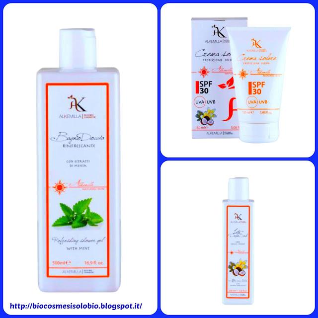 crema solare protezione media 30, latte doposole al cocco e monoi, bagnodoccia rinfrescante alla menta
