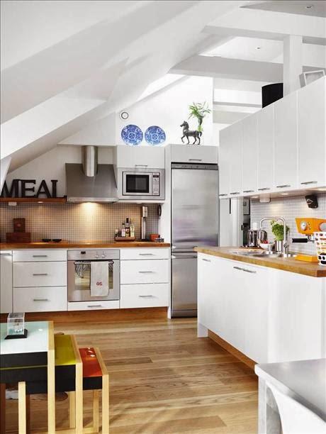 Cocinas con techos inclinados - Cucine stile scandinavo ...