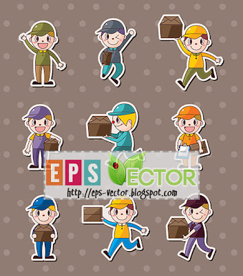 Vector - Express delivery people stickers