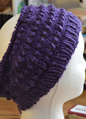Knit lace hat in purple for https://www.etsy.com/shop/JeannieGrayKnits