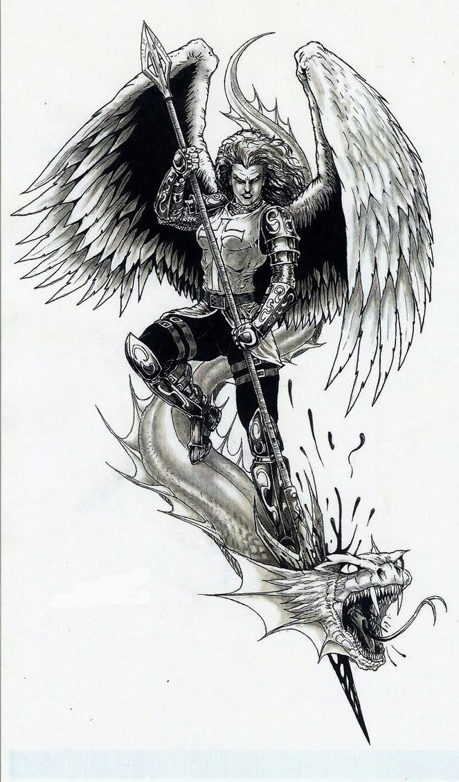 Dragon and angel tattoo stencil