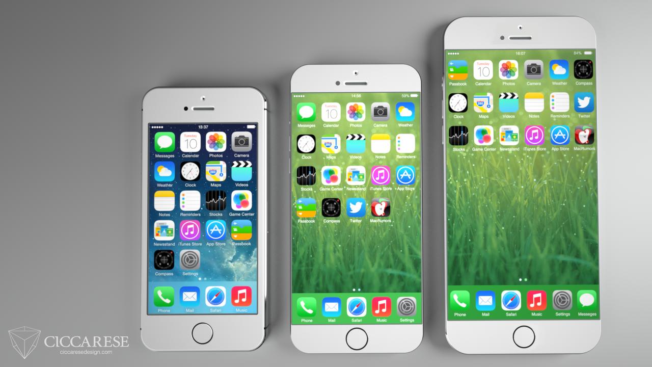 iPhone 5S (4 pulgadas) , iPhone 6 (4,7 pulgadas), iPhone 6 (5,5 pulgadas)