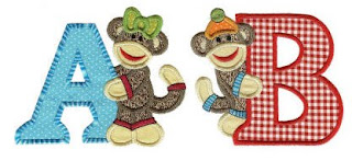 sock monkeys alphabet applique embroidery designs by juju