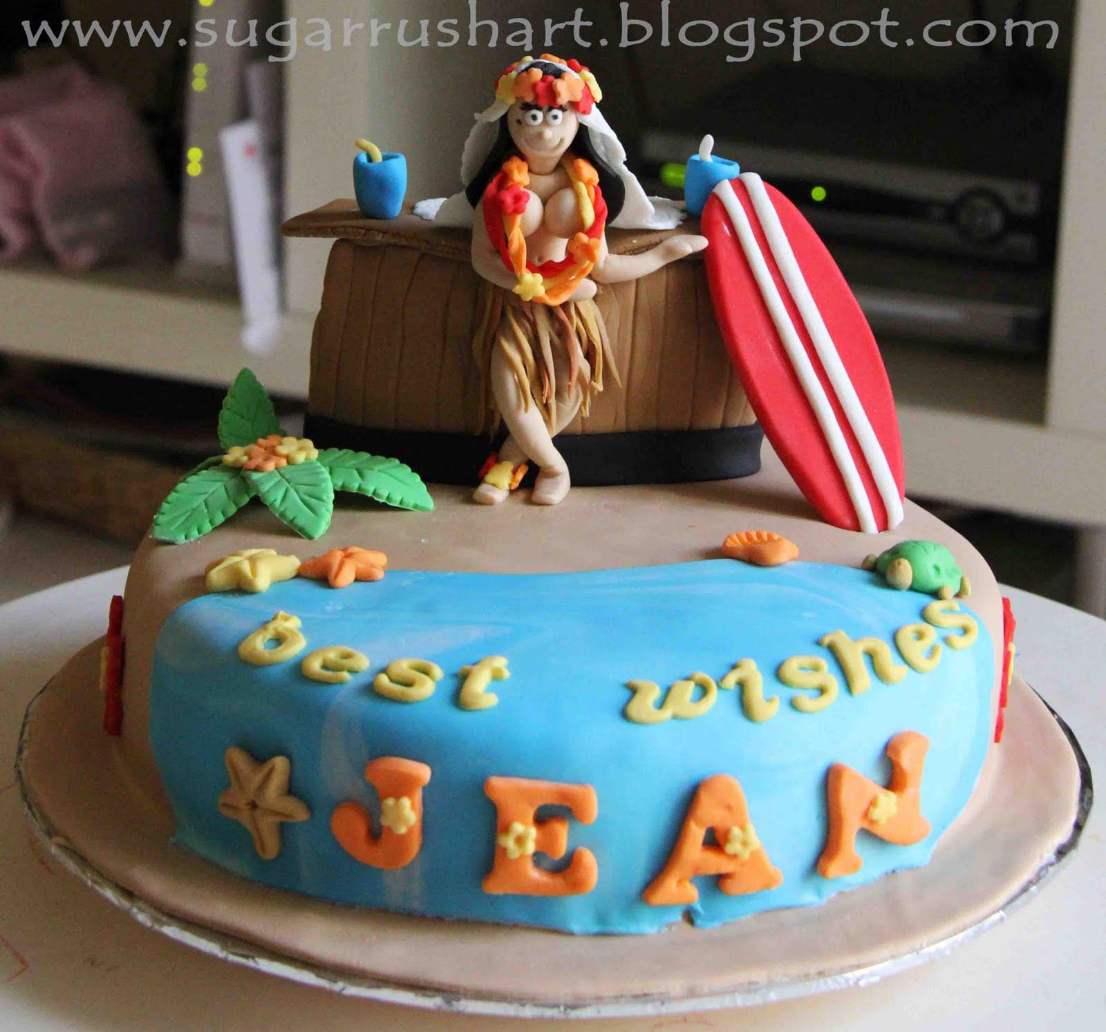 Sugar Rush Art Hawaiian Hula Girl Bridal Shower Cake