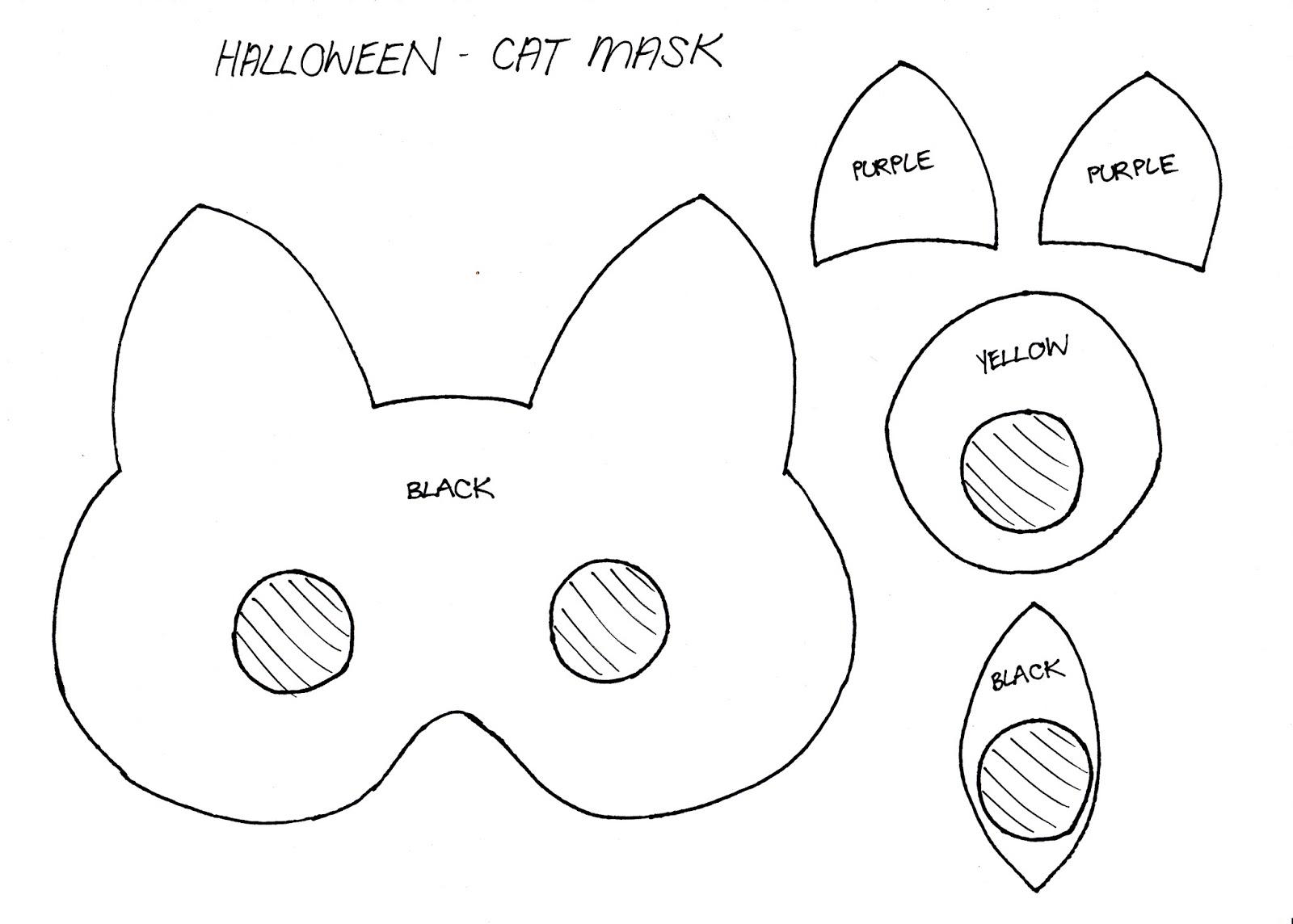 Diy party costume mask black cat kitten template printable - Filename Halloween Mask Cat_0001 Jpg
