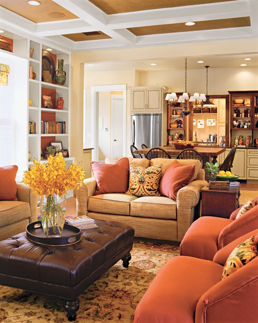 The Renovated Home Warm Cozy Living Room With Painted Coffer Ceiling