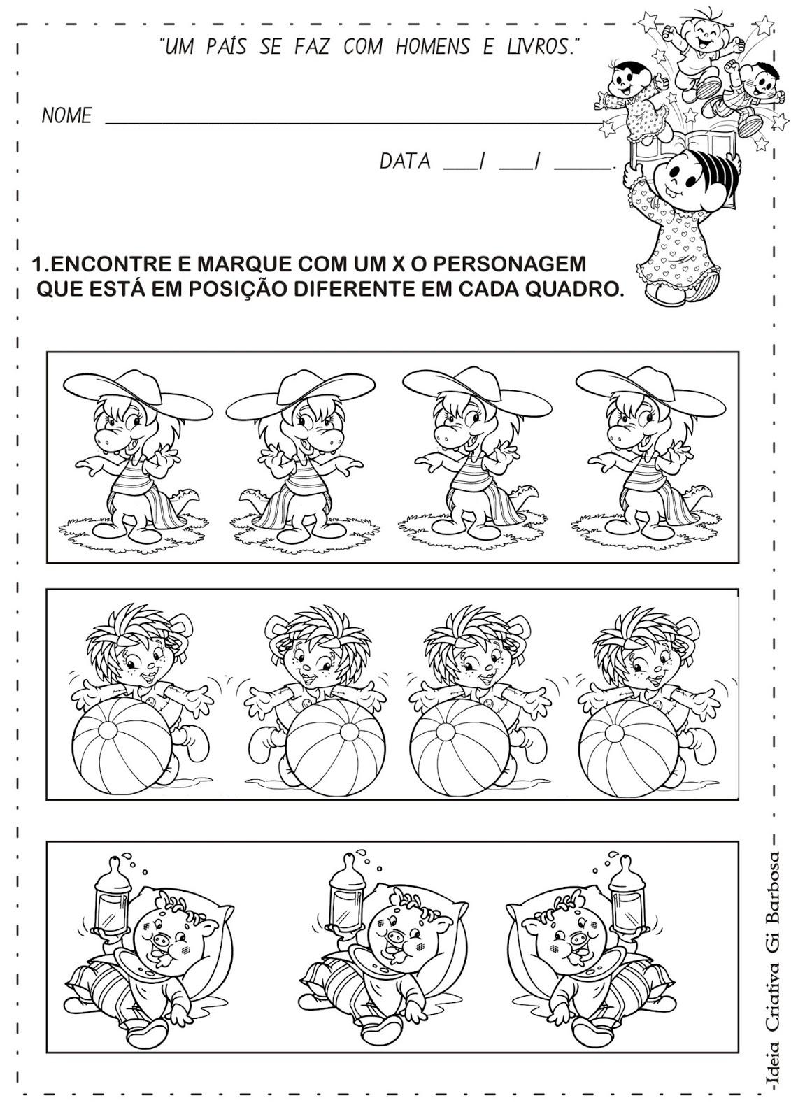 Álbum de Atividades Dia do Livro Infantil com Ilustrações de Turma da Mônica e Turma do Sítio