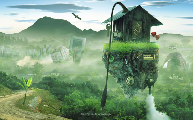 flying hut photo manipulation
