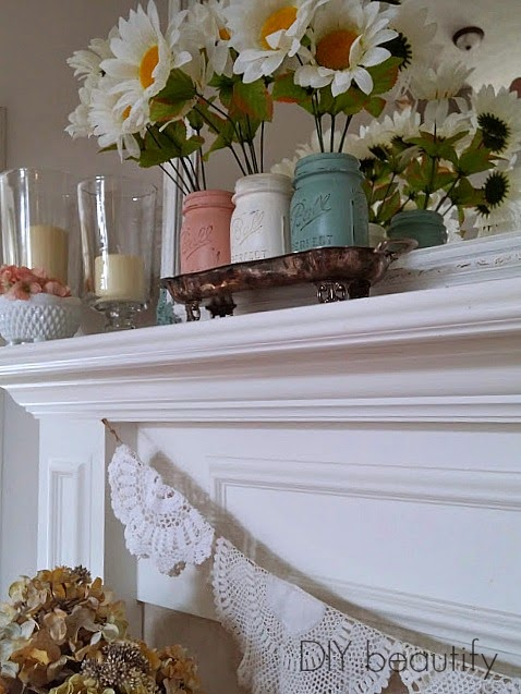 Spring Mantle with Doily Bunting and Painted Mason Jars www.diybeautify.com