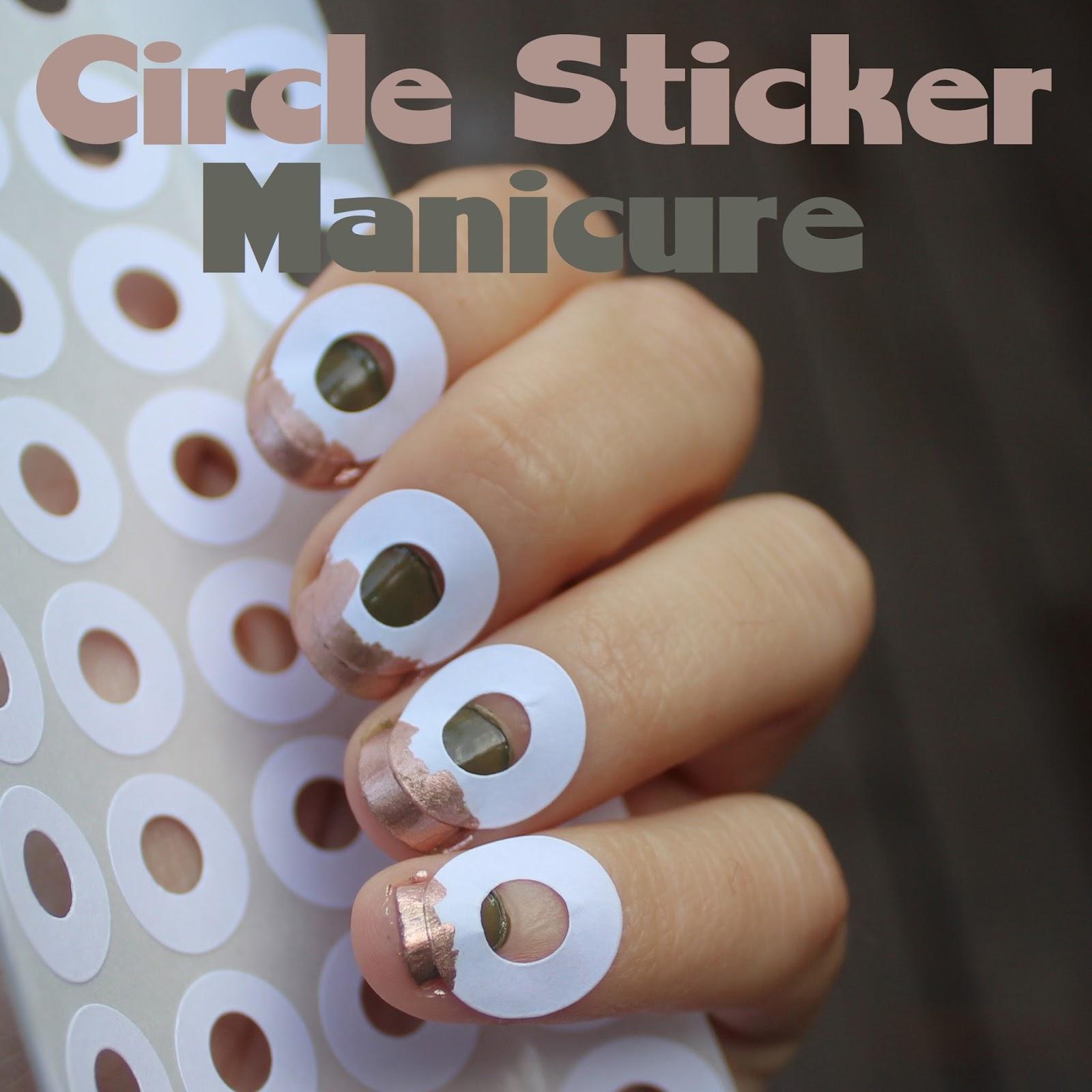 Circle Sticker Mani - White Lights on Wednesday