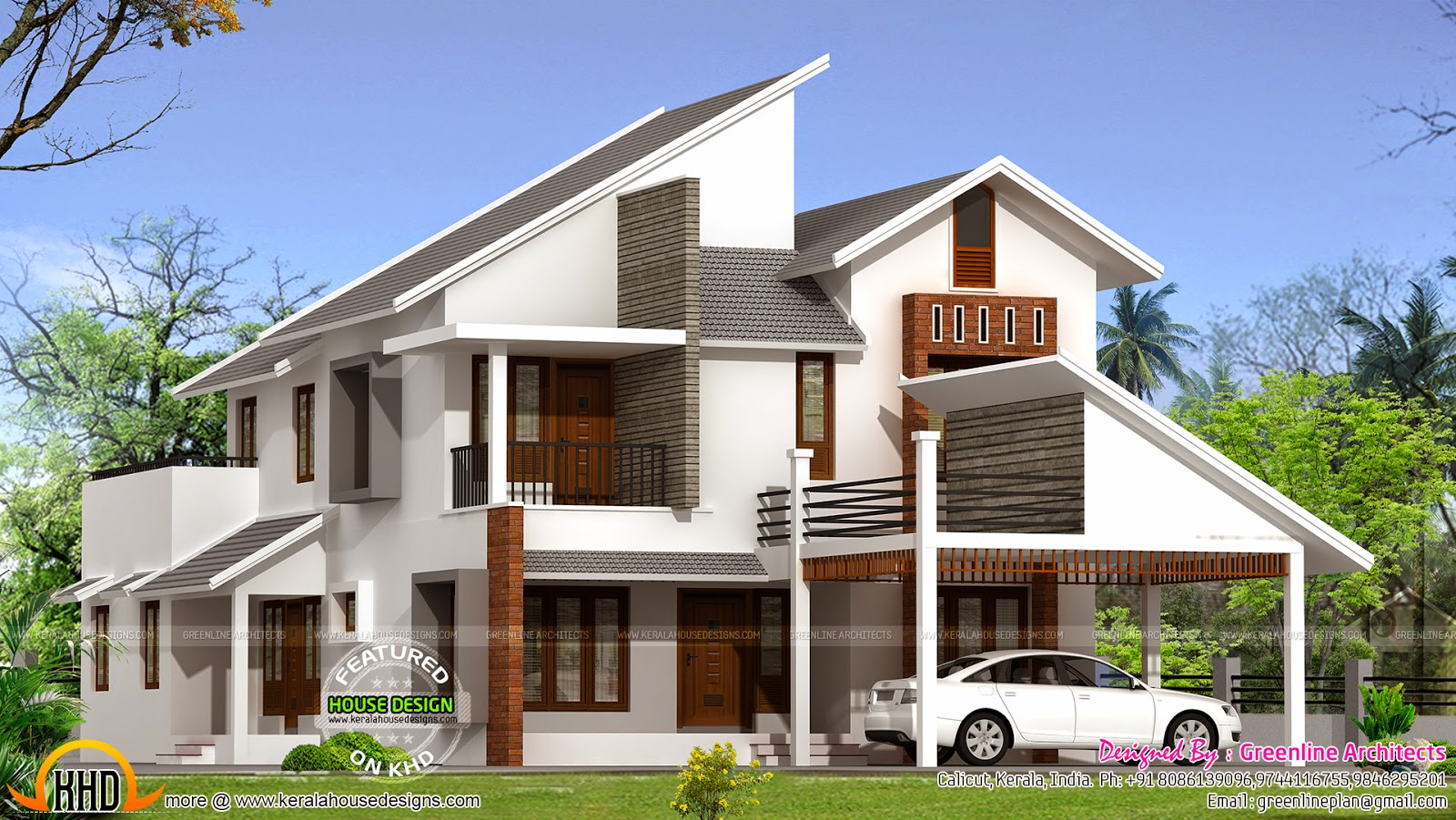 New modern house plan kerala home design and floor plans for Modern roof design types