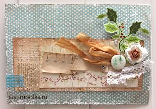Сделанная вручную открытка. Материалы для скрапбукинга: скрап-бумага, скрап-фишка, розочка, скотч, пудра для эмбоссинга, штамп. Подарок к Новому году. Магазин Скрапбукшоп.