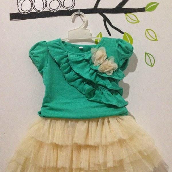 Setelan tutu baju cantik untuk anak perempuan tosca kuning