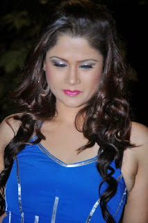 Shilpa Chakravarthy in Blue Sleeveless Gown Spicy Pics