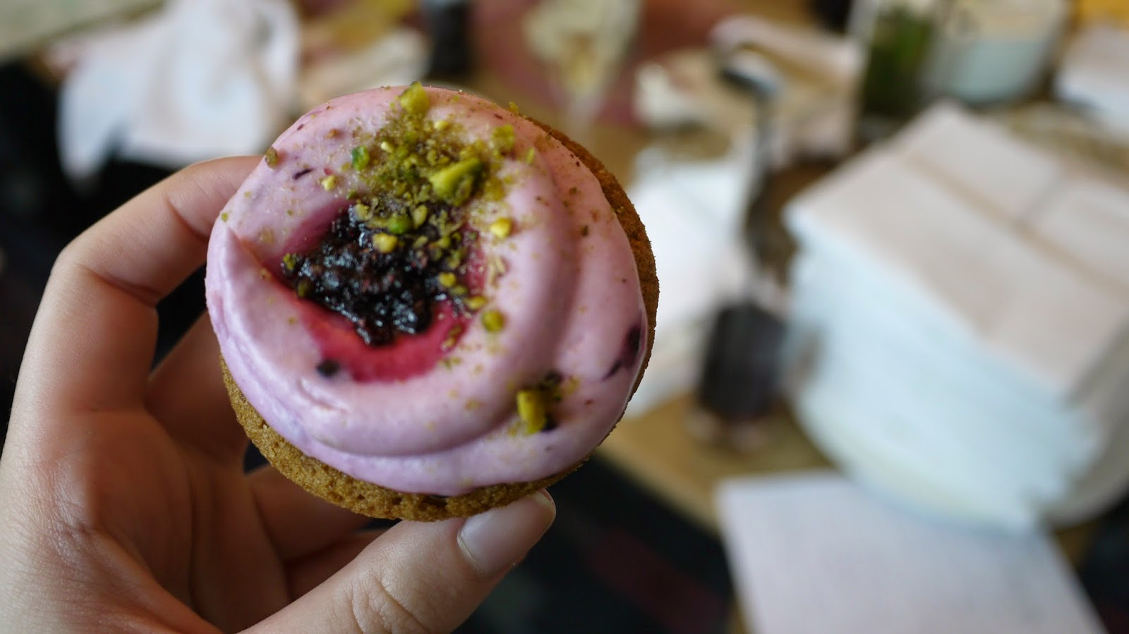 Blueberry and pistachio cupcake
