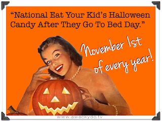 November 1st of every year is National Eat Your Children's Halloween Candy Day, vintage lady and jack-o-lantern pumpkin, candy