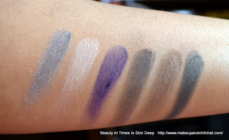 Swatches of Luscious I love Eyeshadow Glam Night Palette