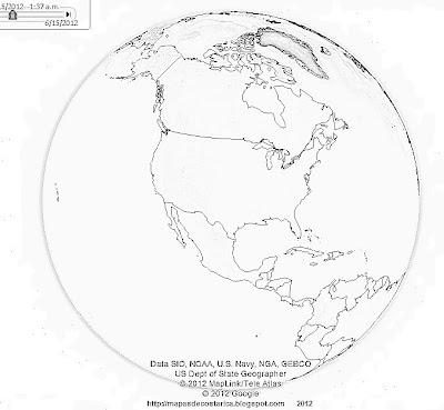 Norteamerica en el mundo, vista del google earth