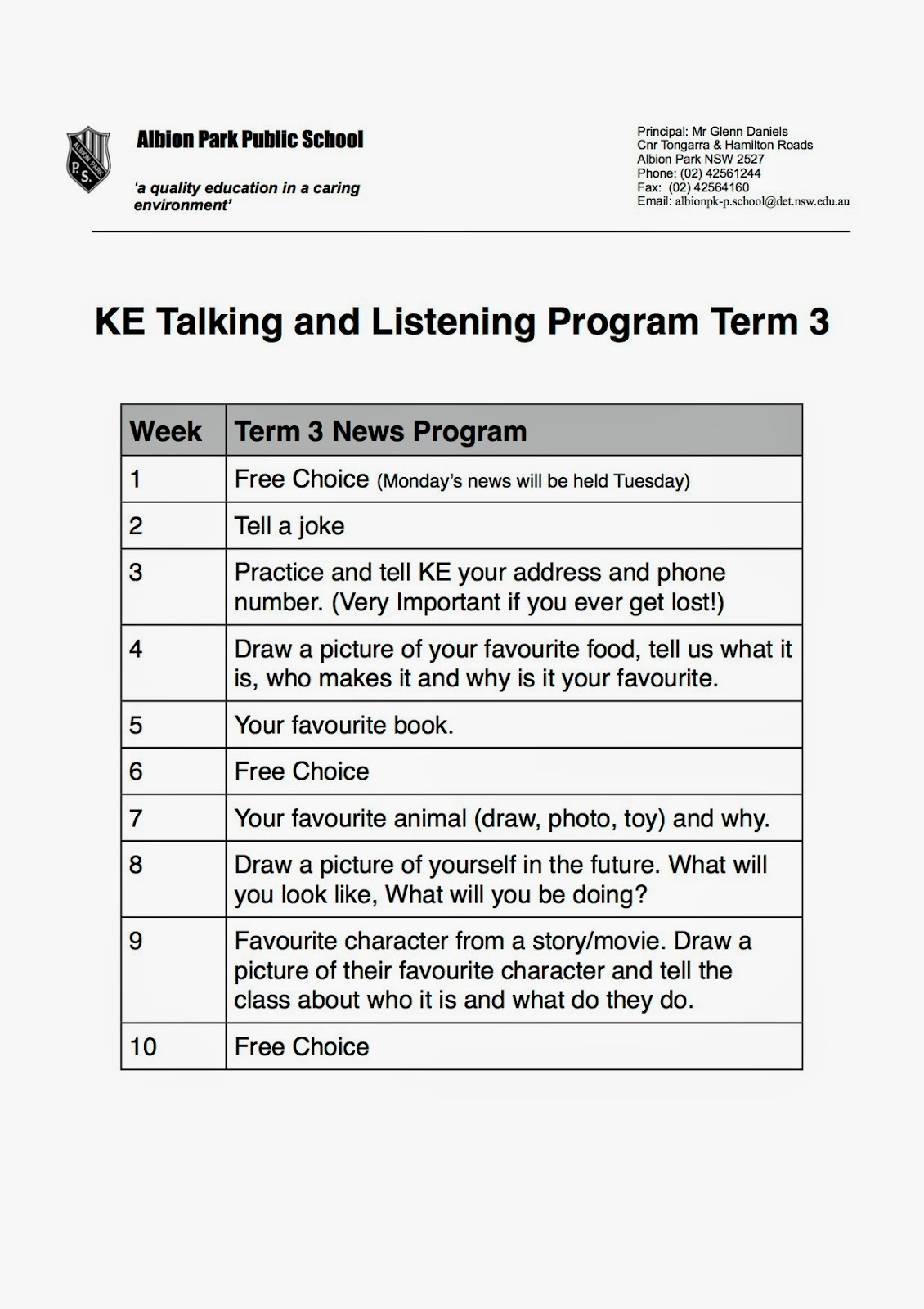 how to do show and tell in kindergarten