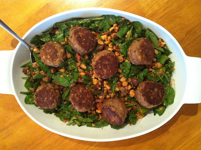 Sesame turkey meatballs with spinach chickpea salad @ SouthernSpoonBlog