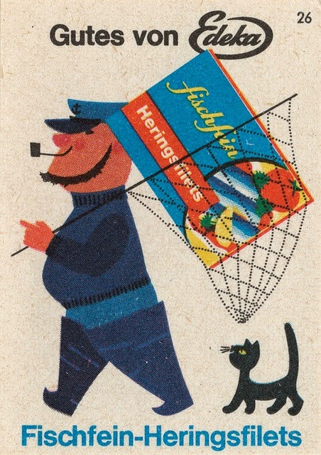 illustration for a vintage German ad of a sailor with fish fillets and a cat