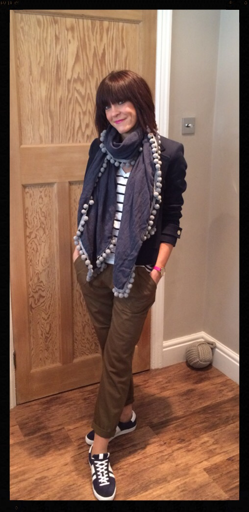 My Midlife Fashion, Zara double breasted navy blazer, mango trainers, khaki trousers, stripes, breton, pompoms, boden, leopard print, zara, mango