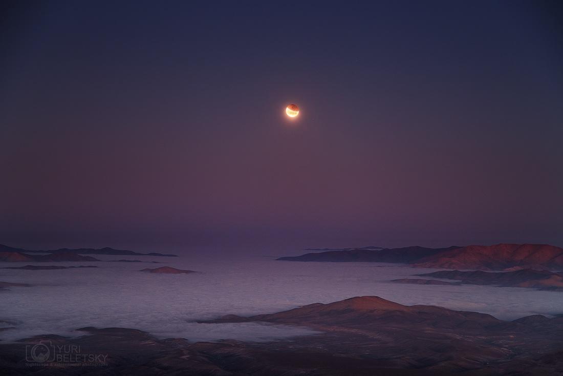 Nguyệt thực toàn phần vào sáng sớm ở Đài quan sát Las Campanas thuộc Phòng Thí nghiệm Carnegie ở bờ biển Thái Bình Dương của nước Chile. Tác giả : Yuri Beletsky.