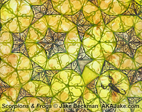 Scorpions and Frogs, penrose sun in gold, green, brown by AZ contemporary painter jake beckman