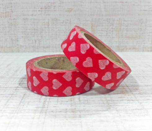 Washi Tape rojo corazones Kitiki Shop