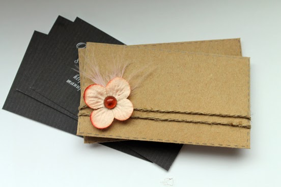 скрап конверт, визитка, эко-стиль