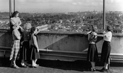 Pelaco employees looking out over Richmond from the roof of the factory