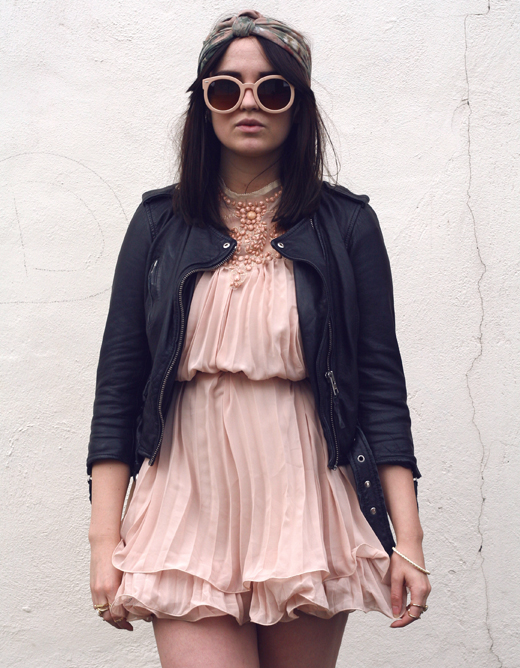 choies swing dress, beaded dress, pleated dress, girly, biker, rock chick, biker jacket, all saints biker jacket, floral headscarf, vintage, vintage scarf, turban, fashion turban,  zerouv sunglasses, nude oversized sunglasses, biker girl, rocker, hippy, hippie, chic