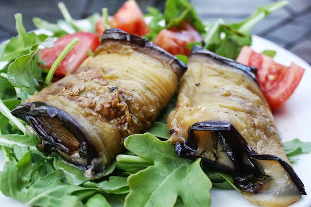 Rolled Eggplant w/ Basil, Asiago & Mozzarella