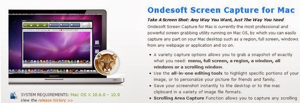 Ondesoft screen capture tool for Mac