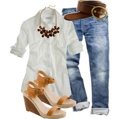White blouse, jeans, tan platforms, big necklace