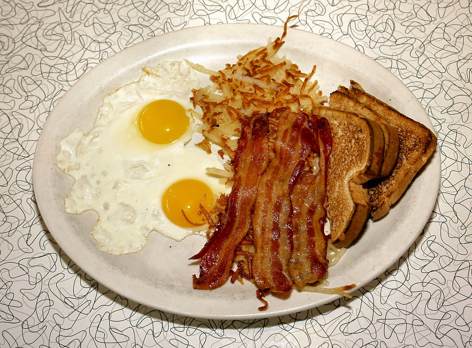 Classic eggs and bacon breakfast