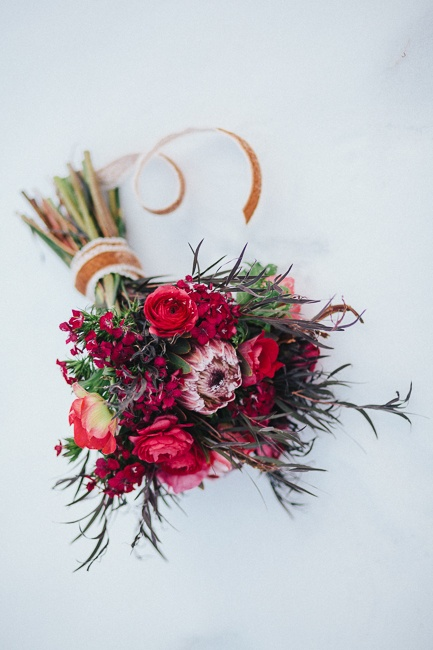 red, scarlet magenta winter wedding bouquet