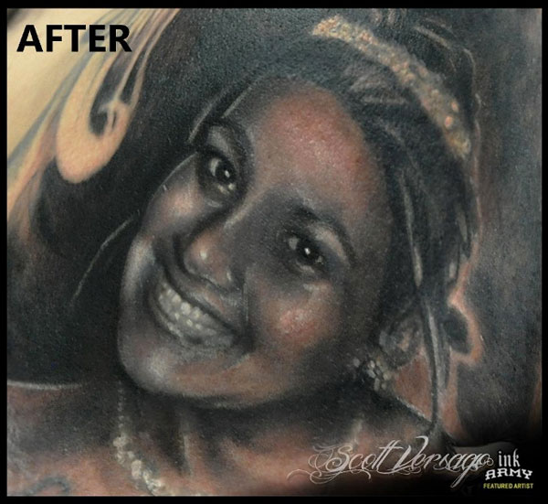 Worst portrait tattoo fixed. Cover el peor tatuaje de retrato. http://distopiamod.blogspot.com.es
