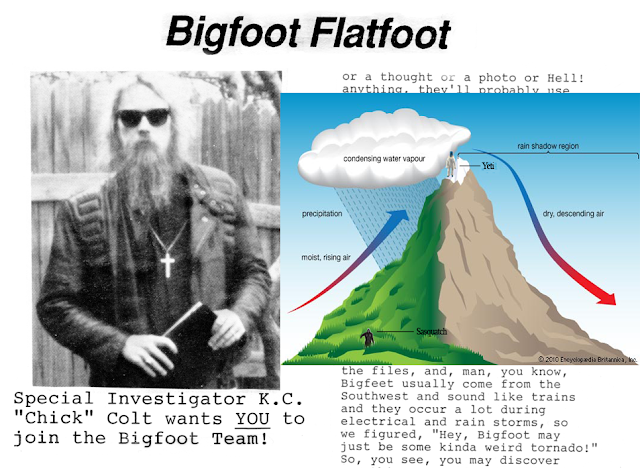 K.C. stares at the reader through his dark wayfarers, Bible in hand, be-crossed and leather-jacketed. The diagram to his left shows the process of participation and its connection to Yeti and Sasquatch.