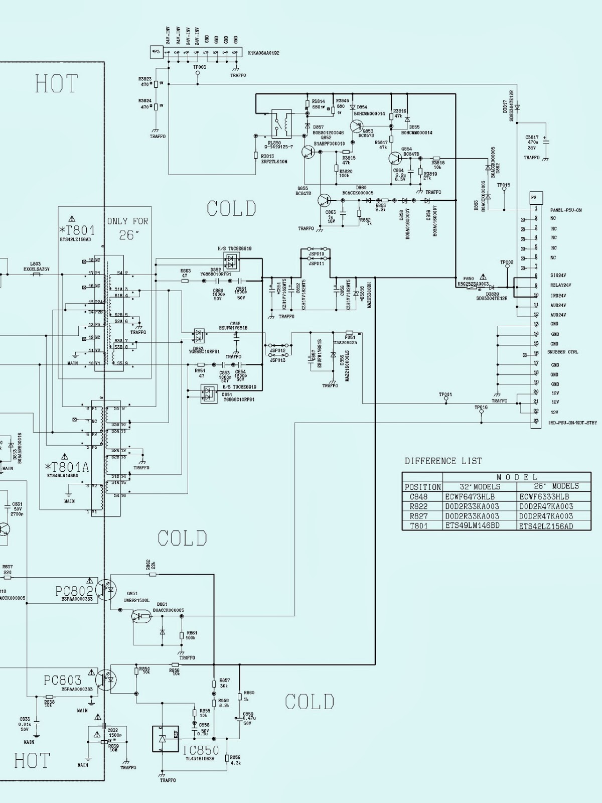 PANASONIC    TX26LXD65F  TX32LXD65F  SMPS  Power Supply     SCHEMATIC        Circuit       Diagram     LCD    TV