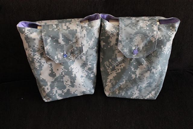 ACU gift bags reusable birthday party favors camouflage purple lilac flannel by Handiworkin' Girls