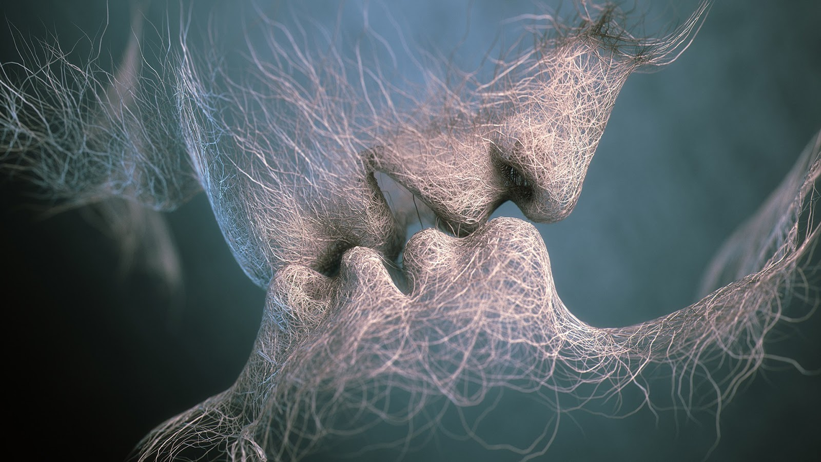 Graphic design of an abstract couple kissing