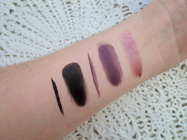 a picture of e.l.f Long-Lasting Lustrous Eyeshadow in Soiree, Cream Eyeliner in Purple Plum and Black (swatch)