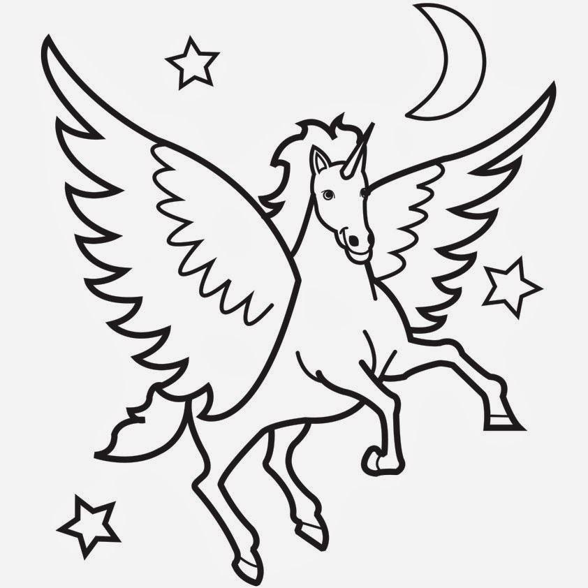 free coloring pages flying horses - photo#26