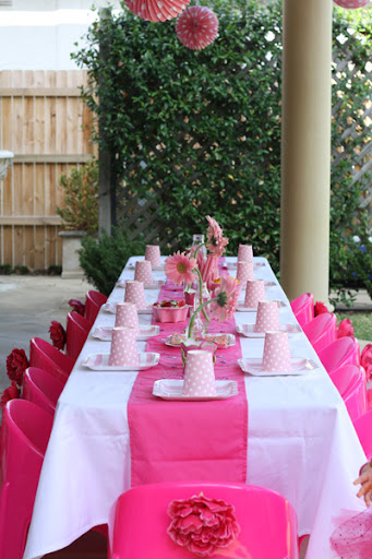Pink Fairy Princess Birthday Party table setting