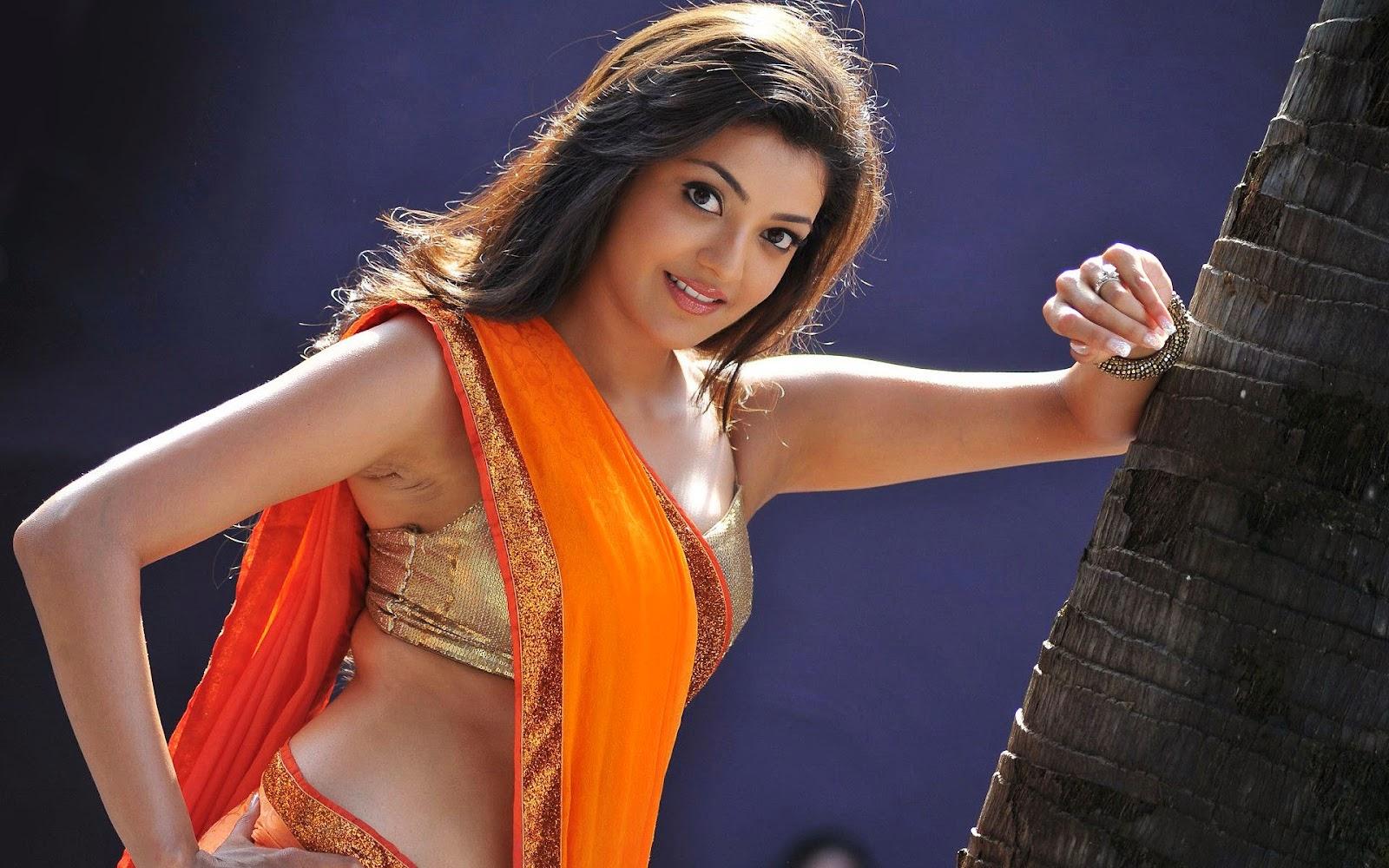Best top desktop kajal agarwal in golden bra or orange saree wallpaper