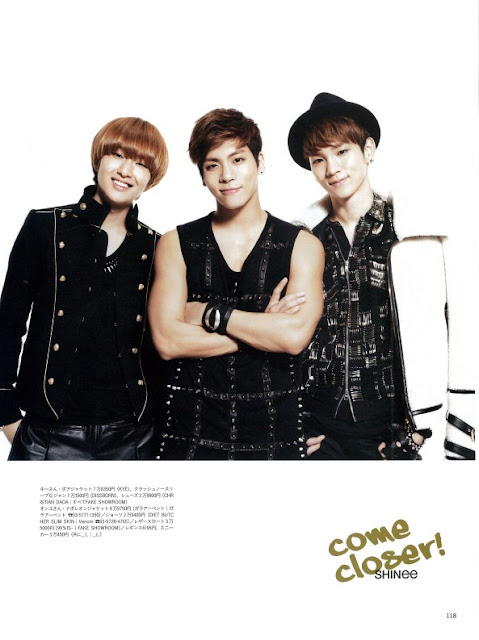 Scan of SHINee for the December issue of Hanako magazine.