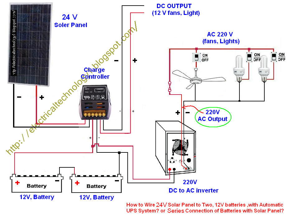 Ups Electrical Wiring Diagram : Electrical technology series connection of batteries with