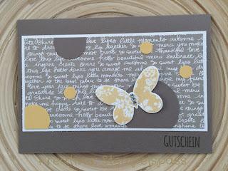Gutschein Stampin'Up Designerpapier Neutralfarben Schmetterlingsgruß Thinlits Formen Schmetterlinge